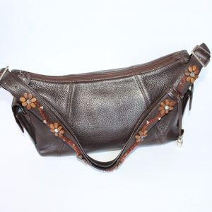 Brighton Brown Pebble Leather Jeweled Purse